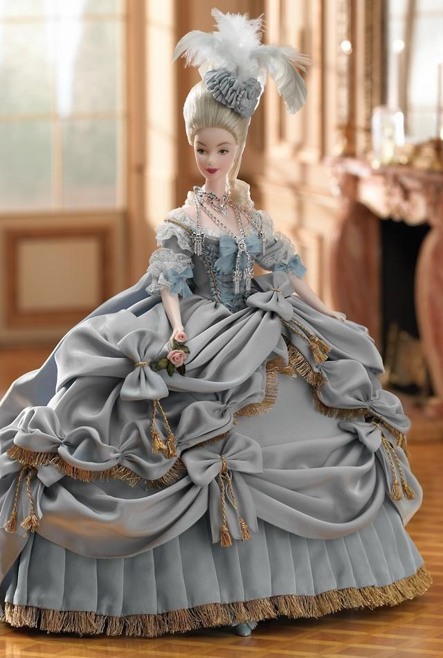 "<div class=""caption-credit""> Photo by: barbiecollector.com</div><b>Marie Antoinette doll, released in 2003 for $249</b> <br> Draped in extravagant jewels, lace, and feathers worthy of the former Queen of France. <br> barbiecollector.com"