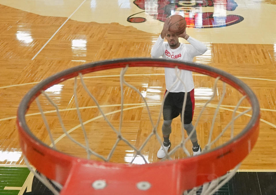 Walter Lemon, Jr. lines up a free throw while practicing during the opening day of training camp for the Maine Red Claws, who will soon start their tenth season playing in the NBA G League. (Staff photo by Gregory Rec/Portland Portland Press Herald via Getty Images)