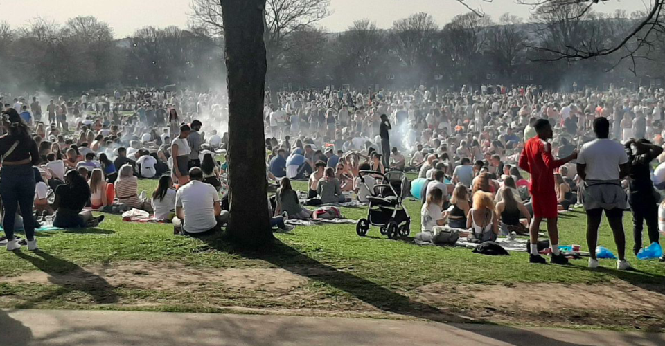 One resident said there were 'literally hundreds' of people at Hyde Park in Leeds, many having barbecues in the March heat. (Reach)