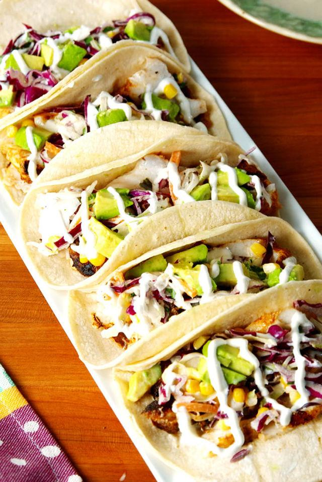 """<p><span>These will transport you straight to southern California.</span></p><p>Get the recipe from <a rel=""""nofollow"""" href=""""http://www.delish.com/cooking/recipe-ideas/recipes/a53296/easy-fish-taco-recipe/"""">Delish</a>.</p>"""