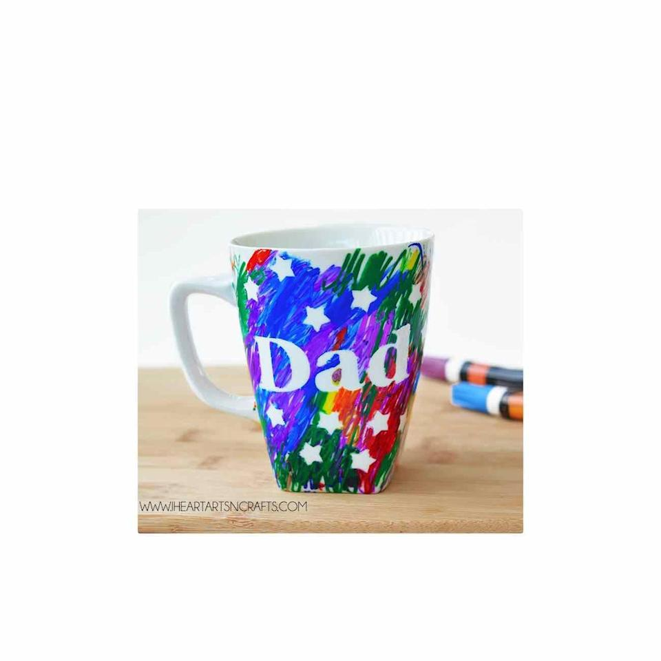 """<p> Apply stencils, then let your son or daughter go to town with paint pens. The result? A colorful mug for his daily cuppa. </p><p><a href=""""https://www.iheartartsncrafts.com/fathers-day-sharpie-mug-kids-craft/"""" rel=""""nofollow noopener"""" target=""""_blank"""" data-ylk=""""slk:Get the tutorial."""" class=""""link rapid-noclick-resp"""">Get the tutorial.</a></p><p><a class=""""link rapid-noclick-resp"""" href=""""https://go.redirectingat.com?id=74968X1596630&url=https%3A%2F%2Fwww.walmart.com%2Fip%2FMainstays-Stoneware-Mug-12-ounce-White%2F772196026&sref=https%3A%2F%2Fwww.oprahdaily.com%2Flife%2Fg27603456%2Fdiy-homemade-fathers-day-gifts%2F"""" rel=""""nofollow noopener"""" target=""""_blank"""" data-ylk=""""slk:SHOP MUG"""">SHOP MUG</a></p>"""