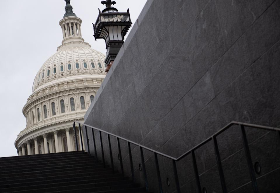 The US Capitol building is seen following the passage of a House resolution formalizing the impeachment inquiry centered on US President Donald Trump in Washington, DC, October 31, 2019. (Photo by SAUL LOEB / AFP) (Photo by SAUL LOEB/AFP via Getty Images)