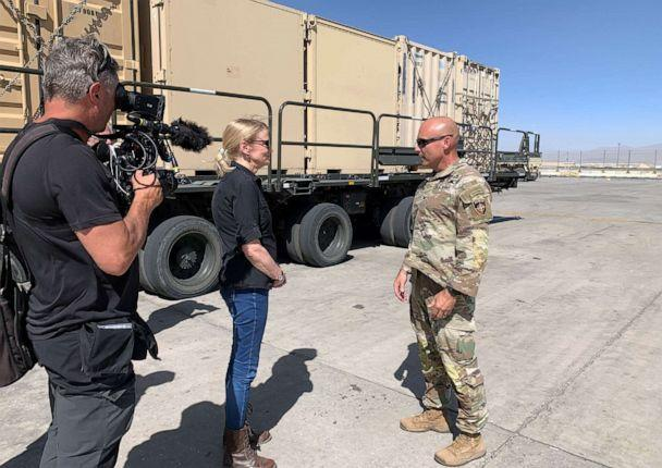 PHOTO: ABC News' Chief Global Affairs Correspondent Martha Raddatz interviews Army Col. Mike Scarpulla of the 10th Mountain Division at Bagram Air Base in Afghanistan in June 2021. (Cindy Smith/ABC News)