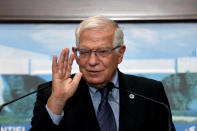European Union foreign policy chief Josep Borrell speaks during a press conference after his meeting with Lebanese President Michel Aoun at the Presidential Palace in Baabda, east of Beirut, Lebanon, Saturday, June. 19, 2021. Borrell berated Lebanese politicians for delays in forming a new Cabinet, warning the union could impose sanctions on those behind the political stalemate in the crisis-hit country. (AP Photo/Bilal Hussein)