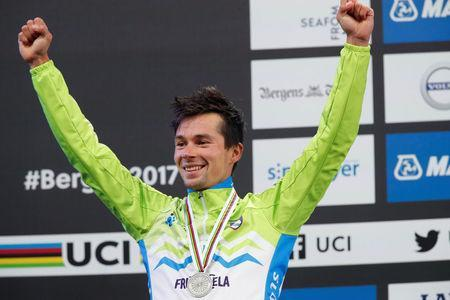 Cycling - UCI Road World Championships - Men Elite Individual Time Trial - Bergen, Norway - September 20, 2017 - Silver medalist Primoz Roglic of Slovenia reacts on the podium. NTB Scanpix/Cornelius Poppe via REUTERS