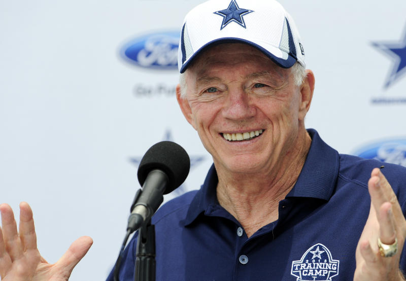 Dallas Cowboys owner Jerry Jones answers a question from the press during the State of the Cowboys address at Dallas Cowboy's NFL football training camp, Saturday, July 20, 2013, in Oxnard, Calif. (AP Photo/Gus Ruelas)