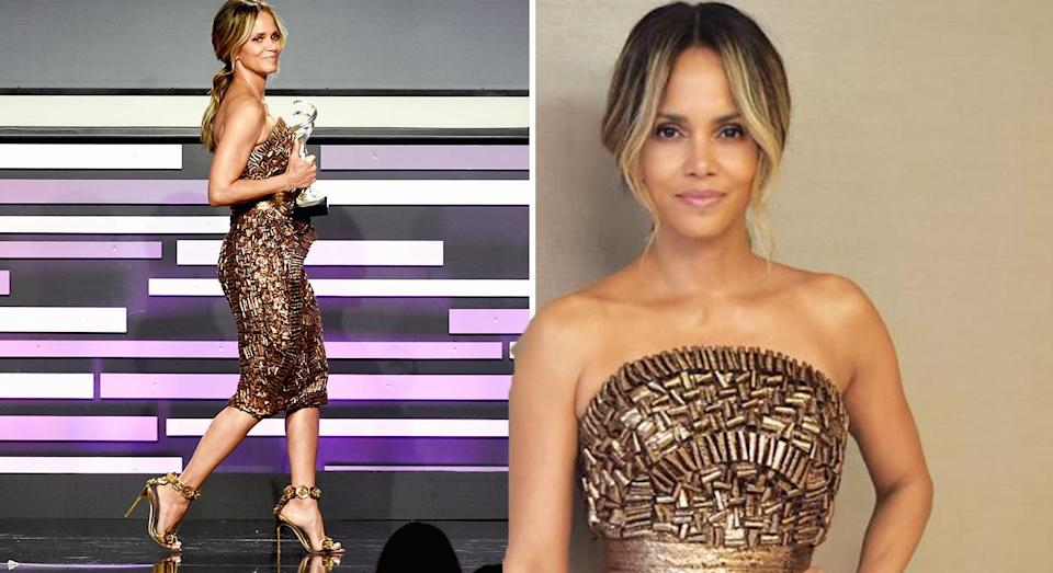 Halle Berry looks gorgeous in an embellished gold dress. [Photo: Getty]