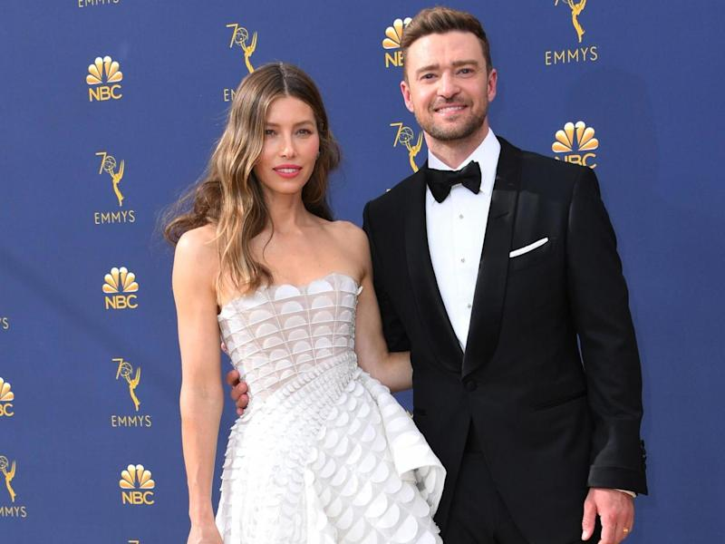 (L-R) Jessica Biel and husband Justin Timberlake at the 2018 Emmy Awards: AFP/Getty