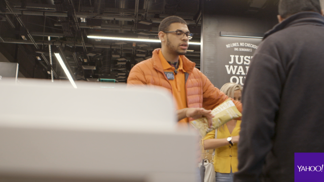 Although Amazon Go is cashier-free, employees still pepper the store to help employees at the entrance, restock items, and prep some meals for store shelves.