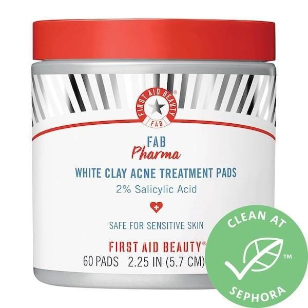 <p>Besides the concentrated dose of salicylic acid in these <span>First Aid Beauty FAB Pharma White Clay Acne Treatment Pads 2% Salicylic Acid</span> ($30), there's also kaolin clay to absorb dirt and oil with just one swipe. These pads are a top-rated option for anyone with sensitive skin, since it skips the alcohol and other drying agents. </p>