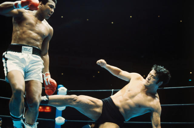 The Wrestling-Boxing Exhibition Fight between Muhammad Ali and Japanese wrestler Antonio Inoki. Ali and Inoki fought 15 rounds, ending in a draw. (Getty Images)
