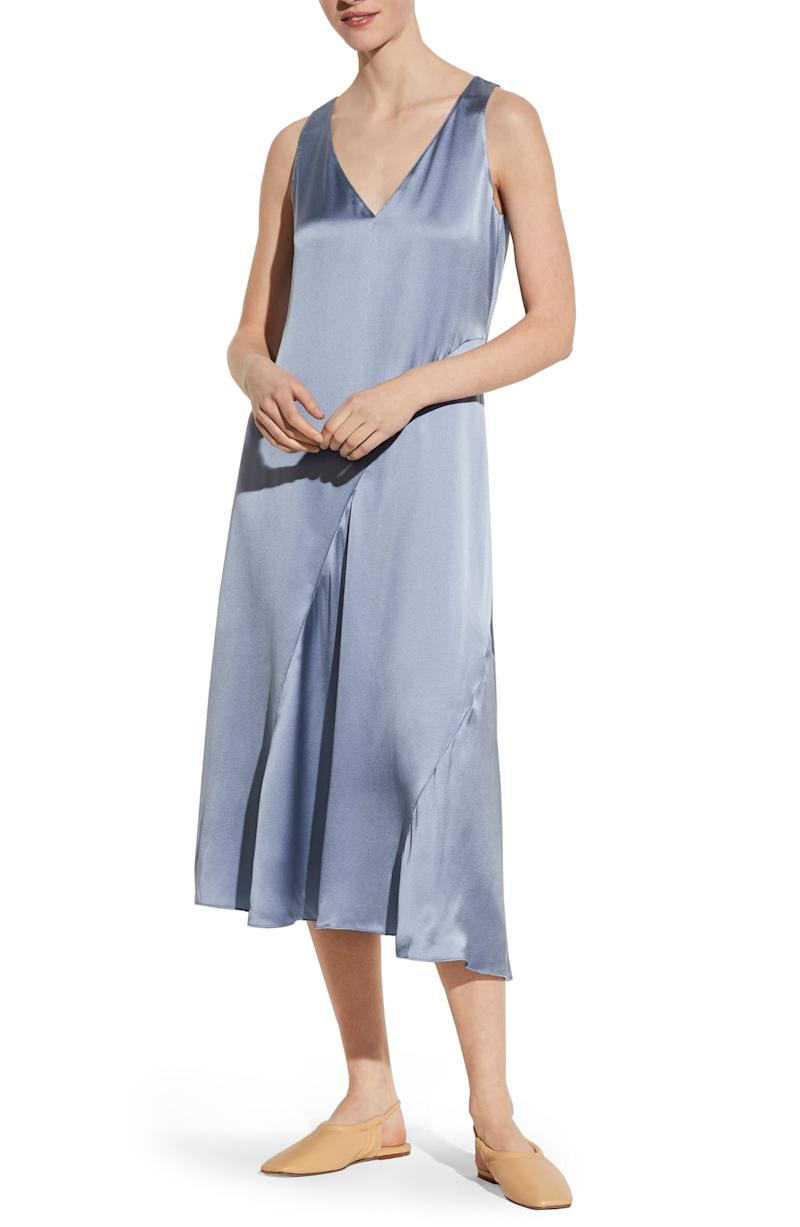 Vince Seamed V-Neck Silk Sleeveless Dress. Image via Nordstrom.