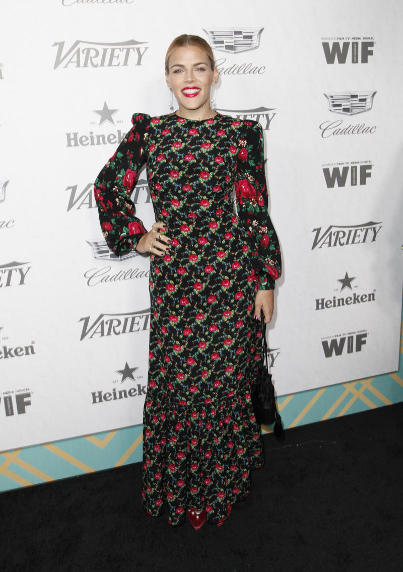 On September 5, Busy Philipps attended the pre-Emmy bash in one of the dresses [Photo: Getty]