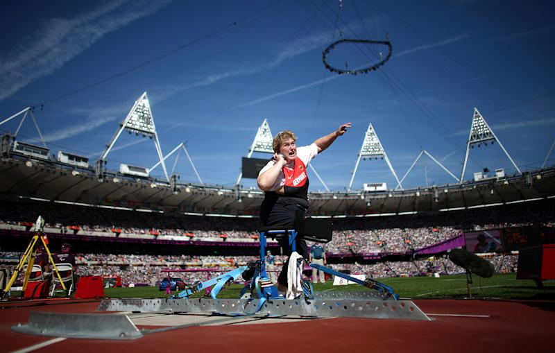 Germany's Ilke Wyludda competes in the Women's Shot Put - F57/58 at the Olympic stadium in London, Saturday Sept. 8, 2012. (AP Photo/David Davies, PA) UNITED KINGDOM OUT - NO SALES - NO ARCHIVES
