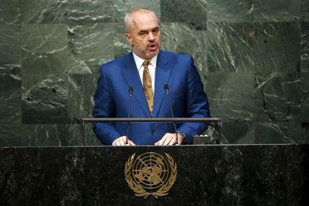 Edi Rama, PM of Albania, addresses attendees during the 70th session of the United Nations General Assembly at U.N. Headquarters in New York