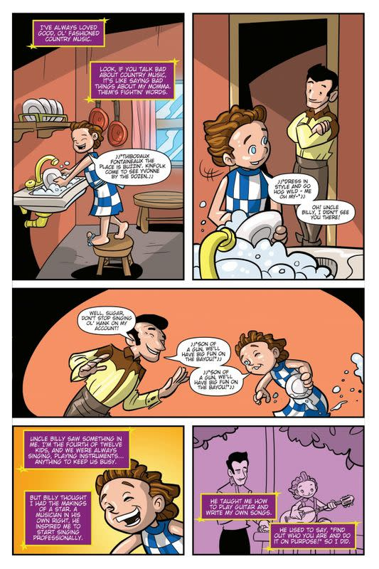 An image shows a page from a TidalWave Comics' comic book based on life of singer Dolly Parton, with planned release date March 31, 2021