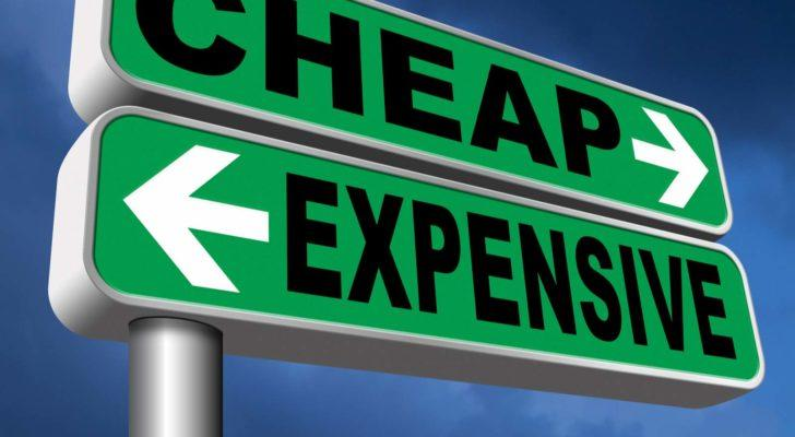 road signs with cheap and expensive written on them to represent overvalued stocks