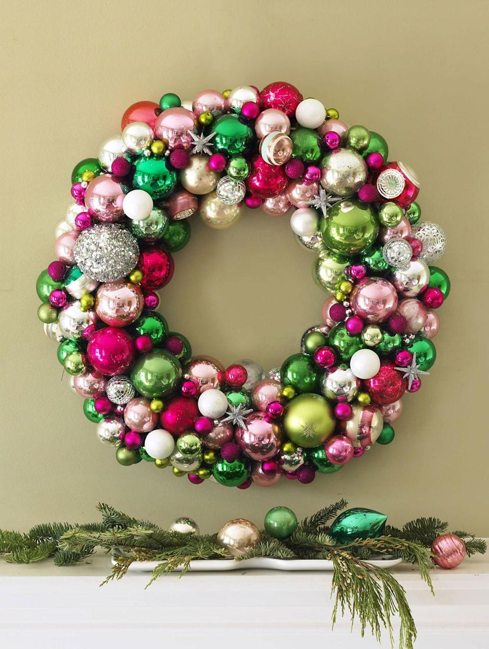 "<p>Skip traditional crimson to put a fresh spin on a <a href=""https://www.housebeautiful.com/entertaining/holidays-celebrations/g2787/christmas-wreaths/"" rel=""nofollow noopener"" target=""_blank"" data-ylk=""slk:Christmas wreath"" class=""link rapid-noclick-resp"">Christmas wreath</a>. Branch out with pink and green baubles, and add in a few silvery accents.</p><p>See more at <a href=""http://www.goodhousekeeping.com/holidays/christmas-ideas/g1943/christmas-wreath-projects/"" rel=""nofollow noopener"" target=""_blank"" data-ylk=""slk:Good Housekeeping"" class=""link rapid-noclick-resp"">Good Housekeeping</a>. </p>"