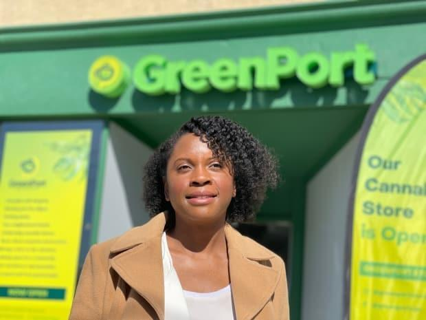 Vivianne Wilson, founder and president GreenPort Cannabis, in front of her College Street store.  (Philip Lee-shanok/CBC - image credit)