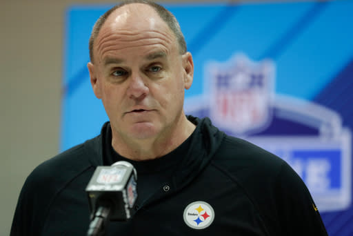FILE - In this Feb. 28, 2018, file photo, Pittsburgh Steelers general manager Kevin Colbert speaks during a press conference at the NFL football scouting combine in Indianapolis. Colbert isnt a fan of the word need. The Steelers general manager believes it points too specifically to one area of weakness. We have to be better and I do not think we were better in 2017 than we were in 2016 because we got eliminated a round earlier, Colbert said of the AFC North champions, who were upset at home by Jacksonville in the divisional round of the playoffs.(AP Photo/Michael Conroy, File)