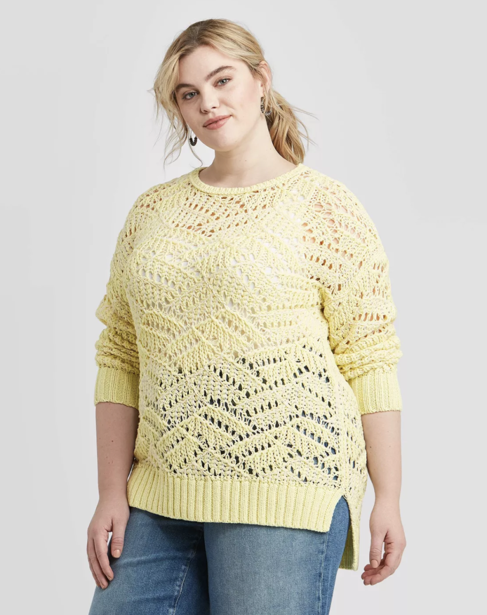 """<p><strong>Universal Thread</strong></p><p>target.com</p><p><strong>$21.00</strong></p><p><a href=""""https://www.target.com/p/women-s-plus-size-crewneck-open-stitch-tunic-sweater-universal-thread/-/A-78427404"""" rel=""""nofollow noopener"""" target=""""_blank"""" data-ylk=""""slk:Shop Now"""" class=""""link rapid-noclick-resp"""">Shop Now</a></p><p>A breezy, open-stitch sweater is a great choice for those chilly summer nights. Just picture this baby next to a beach bonfire. </p>"""