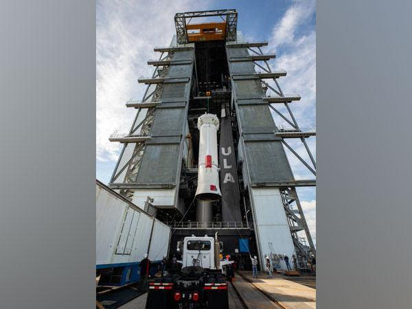 United Launch Alliance (ULA) Centaur stage for NASA's Lucy mission is lifted by crane into Vertical Integration Facility at Cape Canaveral Space Force Station in Florida. (Credits: NASA/Kim Shiflett)