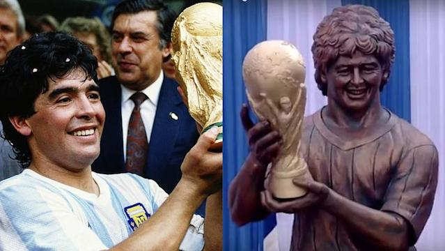 You be the judge of Diego Maradona vs. his statue. (Getty/Twitter)