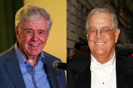 Charles Koch (L) and David Koch are seen in this combination picture. REUTERS/Freedom Partners Chamber of Commerce/Handout/Carlo Allegri