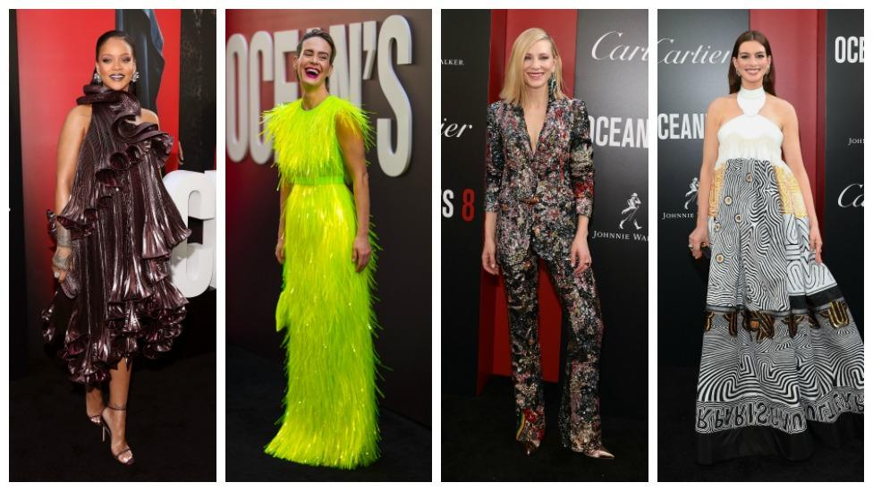 <p>Ocean's 8 has finally been released. Leading ladies Rihanna, Sarah Paulson, Cate Blanchett and Anne Hathaway nailed their red carpet looks during their promo tour. Take a look at their hottest looks from the world premiere in New York on Wednesday. </p>
