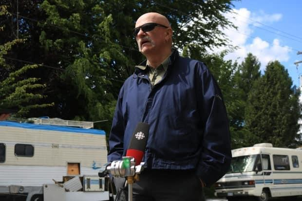 Connolly Watson has lived in an RV for years, including at the encampment near Slocan and 12th Avenue. He says the city's policy on large vehicle parking unfairly targets those who cannot afford rental housing.