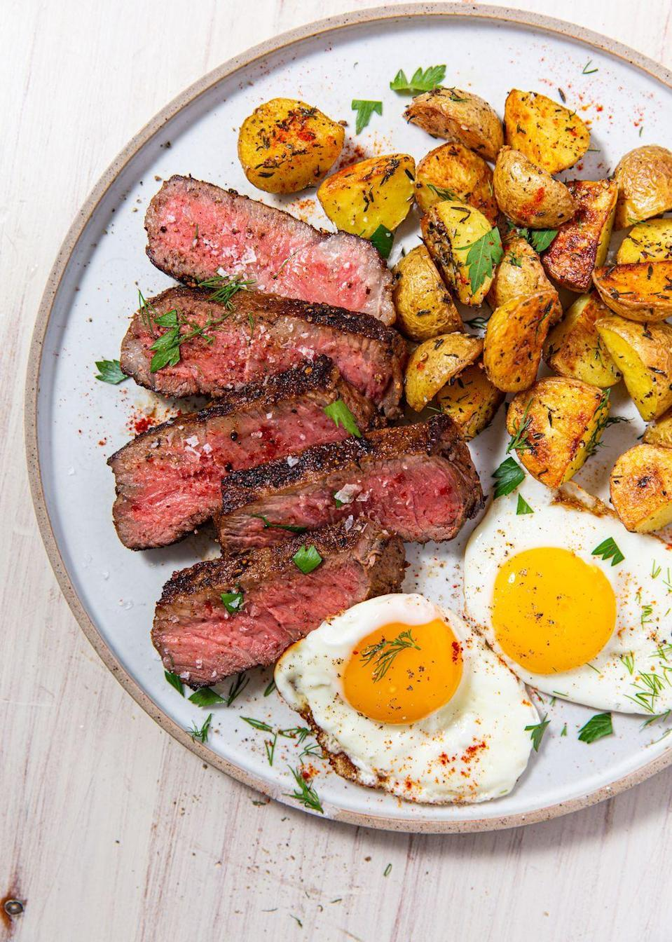 """<p>Name a better duo. We'll wait. </p><p>Get the recipe from <a href=""""https://www.delish.com/cooking/recipe-ideas/a30433895/steak-and-eggs-recipe/"""" rel=""""nofollow noopener"""" target=""""_blank"""" data-ylk=""""slk:Delish"""" class=""""link rapid-noclick-resp"""">Delish</a>. </p>"""