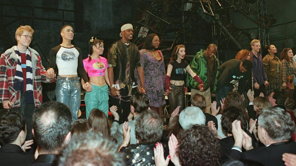 """Mandatory Credit: Photo by Wally Santana/AP/Shutterstock (6525907a)The cast of """"Rent"""" takes a curtain call after the Pulitzer Prize winning rock musical opened on Broadway Monday night, in New York."""