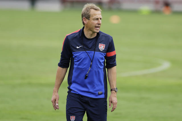 Head coach of United States soccer team, Jurgen Klinsmann, gives directions during a training session in Sao Paulo, Brazil, Tuesday, Jan. 14, 2014. The US national soccer team is on a training program to prepare for the World Cup tournament that starts in June. (AP Photo/Nelson Antoine)