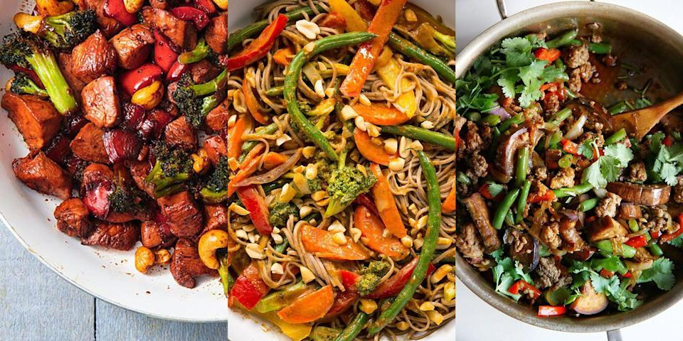 """<p>Let's face it, who doesn't love stir fry? Noodles, vegetables and the addition of some sort of meat (or meat-alternative), it's pretty much a win/win. It's one of our go-to meals for when we're after something fast and delicious, and it couldn't be more versatile! You can use up any leftover veg you have lurking in the fridge, make your own stir fry sauce (or not, no judgement here) and pair it with some easy-to-make fried rice, too. </p><p>Need some recipes? We've got you covered! Check out our favourite recipes now, with everything from <a href=""""https://www.delish.com/uk/cooking/recipes/a33653203/chicken-stir-fry-recipe/"""" rel=""""nofollow noopener"""" target=""""_blank"""" data-ylk=""""slk:Honey Garlic Chicken Stir Fry"""" class=""""link rapid-noclick-resp"""">Honey Garlic Chicken Stir Fry</a> to <a href=""""https://www.delish.com/uk/cooking/recipes/a28756372/beef-and-broccoli-noodles-recipe/"""" rel=""""nofollow noopener"""" target=""""_blank"""" data-ylk=""""slk:Beef and Broccoli Stir Fry"""" class=""""link rapid-noclick-resp"""">Beef and Broccoli Stir Fry</a>.</p>"""