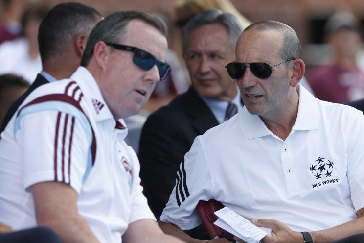 Tim Hinchey, left, joins USA Swimming after six-plus years working in the front office of the Colorado Rapids. (AP)