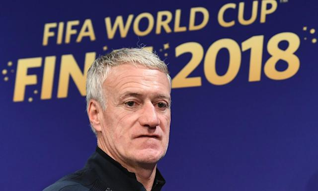 Didier Deschamps attends a press conference before France meet Croatia in the World Cup final.