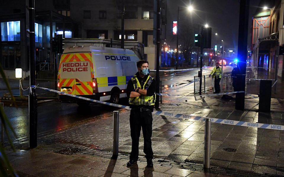 The city centre descended into chaos on Saturday night, with three people stabbed and others injured - Richard Williams/Wales news service
