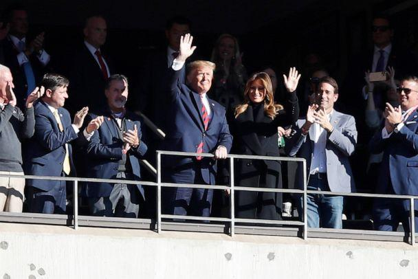 PHOTO: President Donald Trump and first lady Melania Trump attend the game between the LSU Tigers and the Alabama Crimson Tide at Bryant-Denny Stadium, Nov. 9, 2019, in Tuscaloosa, Ala. (Todd Kirkland/Getty Images)
