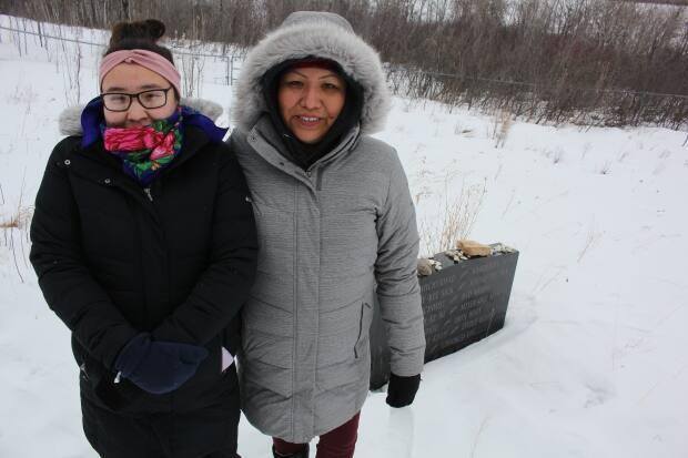 Cecile Moosomin and her daughter Angel-Sky near the Battlefords on Feb. 25, 2021. Moosomin, who says land is life to her and her family, says she's trying to start a dialouge with band leadership to hold a referendum on a $127-million land settlement reached earlier this year, as she wants to ensure the land preserved for future generations like her daughter.