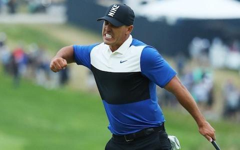 Brooks Koepka celebrates his win - Credit: getty images