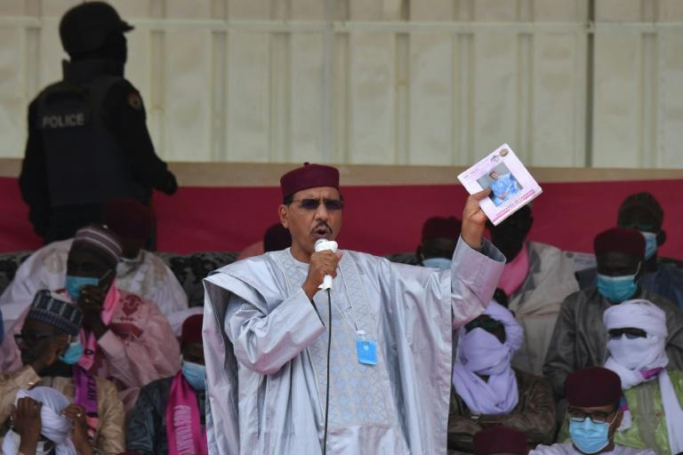On the stump: Presidential frontrunner Mohamed Bazoum gives a campaign speech at Diffa, southeastern Niger, four days before polling day