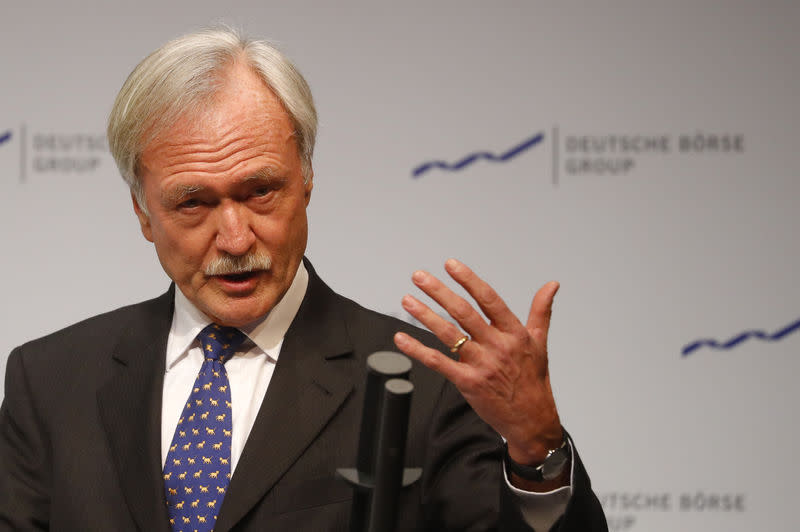 Chairman of the supervisory board of Deutsche Boerse AG Faber delivers a speech at the New Year reception of the German stock market in Eschborn near Frankfurt
