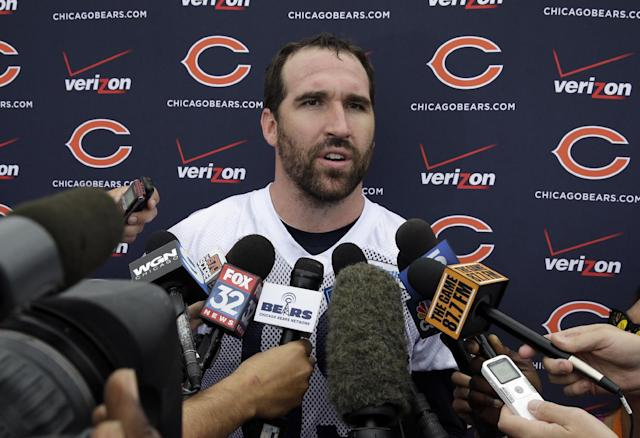 Chicago Bears defensive end Jared Allen (69) talks to the media at a news conference after the team's NFL football training camp at Olivet Nazarene University on Friday, July 25, 2014., in Bourbonnais, Ill. (AP Photo/Nam Y. Huh)