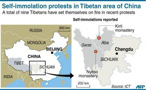 Map showing the Tibetan districts of China's Sichuan province where a total of nine people, including one woman, have staged self-immolation protests in recent months