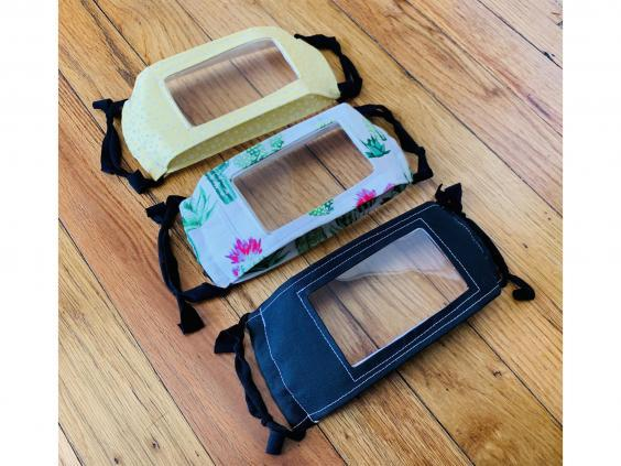 You can also find transparent masks in different colours and patterns (Etsy)