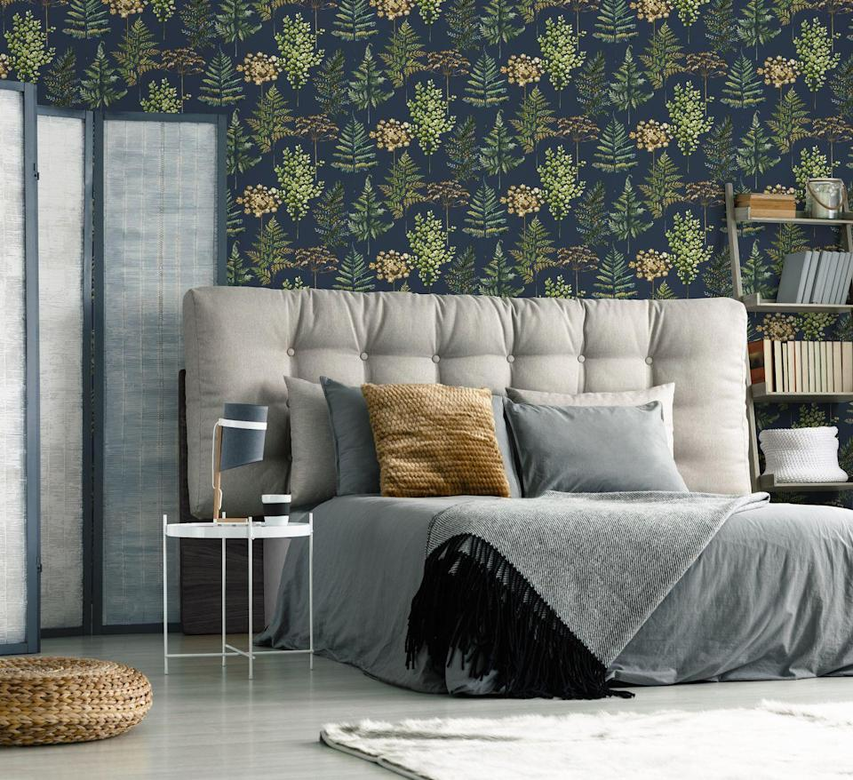 """<p><strong>Botanical Bliss Navy Wallpaper, £40</strong></p><p><a class=""""link rapid-noclick-resp"""" href=""""https://go.redirectingat.com?id=127X1599956&url=https%3A%2F%2Fwww.homebase.co.uk%2Fhouse-beautiful-botanical-bliss-navy-wallpaper%2F12945382.html&sref=https%3A%2F%2Fwww.housebeautiful.com%2Fuk%2Fhouse-beautiful-collections%2Fg36172810%2Fhomebase-wallpaper%2F"""" rel=""""nofollow noopener"""" target=""""_blank"""" data-ylk=""""slk:BUY NOW"""">BUY NOW</a></p>"""
