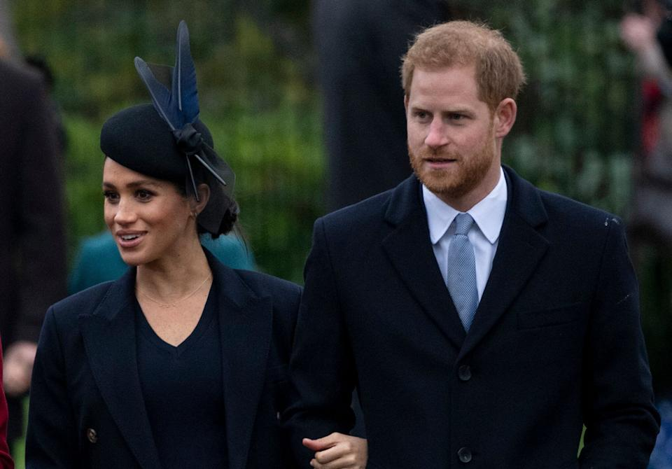 The Duke and Duchess of Sussex attend Christmas services at the Church of St. Mary Magdalene on the Sandringham estate in England last year. (Photo: UK Press Pool via Getty Images)