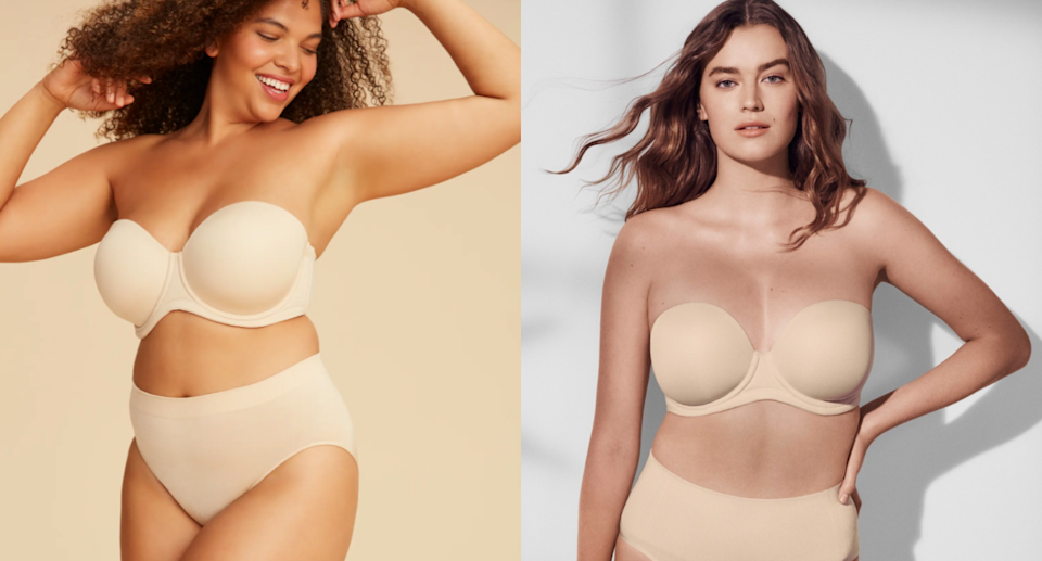 Big boobs? This strapless bra fits up to sizes 44G and has over 1,200 5-star reviews (Photos via Nordstrom & wacoalamerica/Instagram)