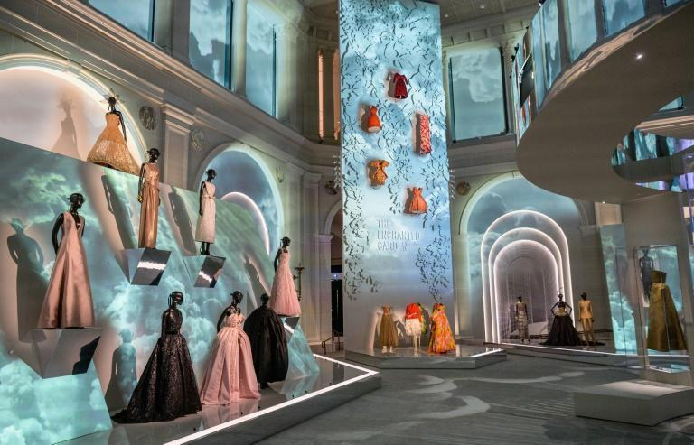 """Creations by French fashion designer Christian Dior are on display at the """"Christian Dior: Designer of Dreams"""" exhibition at the Brooklyn Museum in New York, on September 7, 2021 (AFP/Angela Weiss)"""
