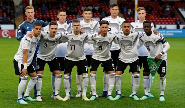 Soccer Football - UEFA European Under-17 Championship - Group D - Spain vs Germany - The Banks's Stadium, Walsall, Britain - May 11, 2018 Germany players pose for a team group photo before the match Action Images via Reuters/Peter Cziborra